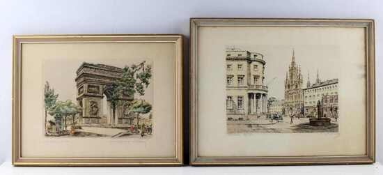 VINTAGE PARIS CITYSCAPE COLORED FRENCH ETCHING LOT