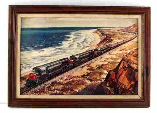 JOHN GOULD HAND SIGNED VINTAGE RAILROAD LITHOGRAPH