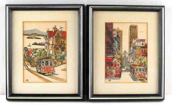 SAN FRANCISCO MID CENTURY WATERCOLOR PAINTING