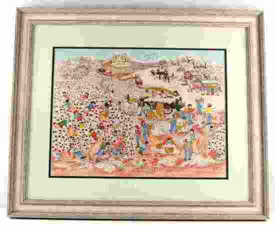 SALLIE MANET ALABAMA WATERCOLOR FOLK ART ORIGINAL
