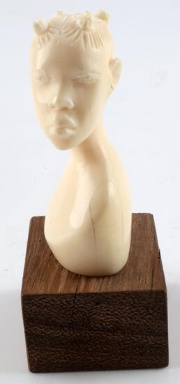 ANTIQUE AFRICAN HAND CARVED IVORY BUST MINI