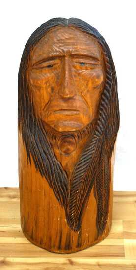 CHAINSAW CARVING OF NATIVE AMERICAN INDIAN WARRIOR