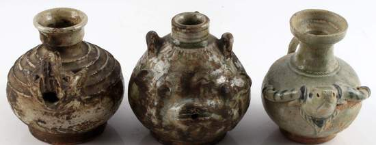 LOT OF 3 INDUS VALLEY ZOOMORPHIC POTTERY VASES