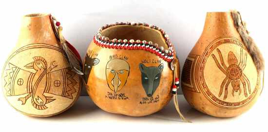 LOT OF 3 NATIVE AMERICAN HAND CARVED GOURD ART