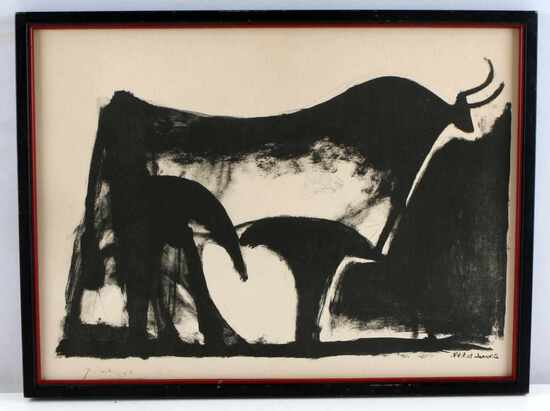 PABLO PICASSO SIGNED LITHOGRAPH THE BLACK BULL