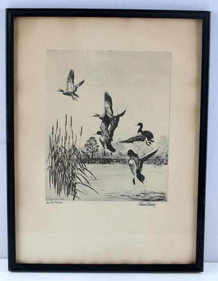 BISHOP ANTIQUE LAKE EERIE MALLARD DUCK ETCHING