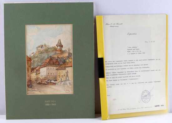 ADOLF HITLER ORIGINAL AQUARELL PAINTING W COA