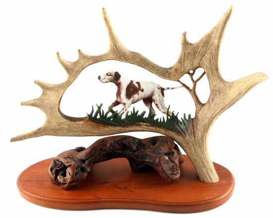 DAVID SEMONES SIGNED CARVED ANTLER HUNTING DOG