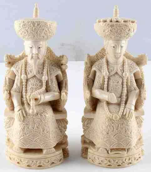 ANTIQUE IVORY EMPEROR & EMPRESS 7 INCH FIGURES