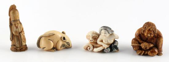 4 ANTIQUE IVORY NETSUKE EROTIC OCTOPUS FIGURE LOT