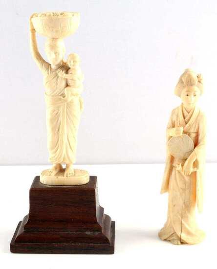 ANTIQUE IVORY FIGURINES SIGNED GEISHA LADY & CHILD