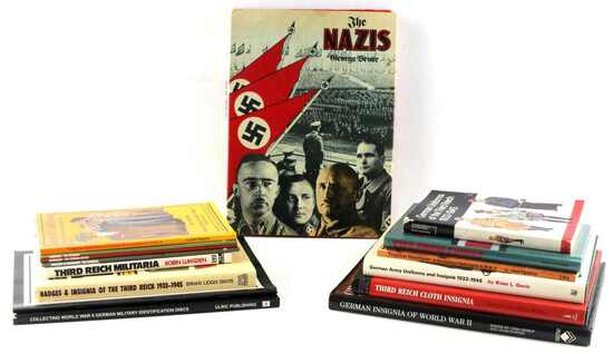 WWII THIRD REICH BOOK LOT INSIGNIA HELMET UNIFORMS