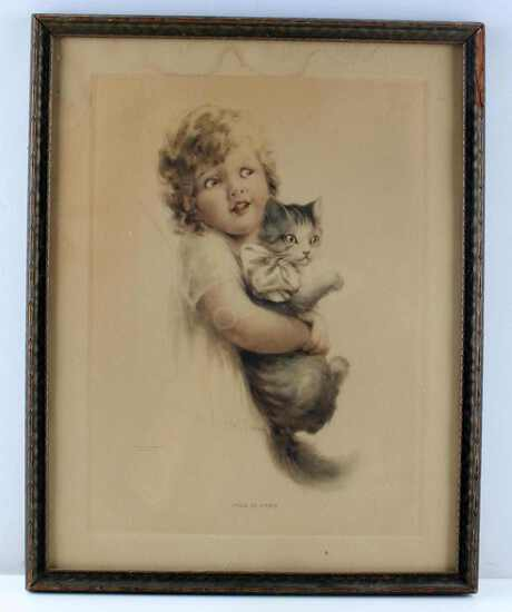ANTIQUE EDA S. DOENCH PUSS IN ARMS ORIGINAL PRINT