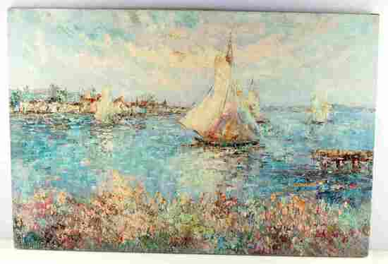 IMPRESSIONIST MEDITERRANEAN NAUTICAL SEASCAPE