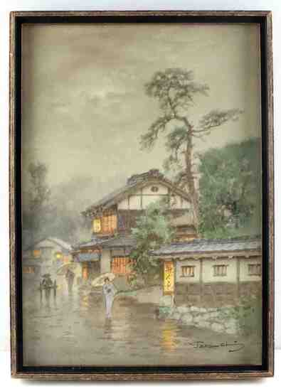 TERAUCHI MANJIRO JAPANESE WATERCOLOR LANDSCAPE