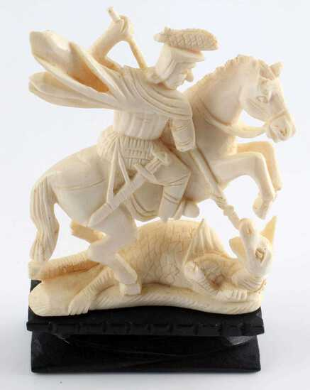 ANTIQUE IVORY ST. GEORGE THE DRAGONSLAYER