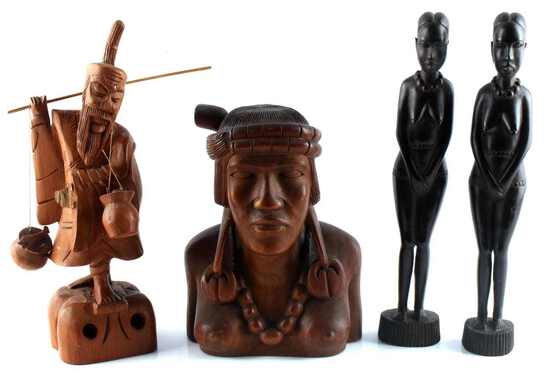 AFRICAN ASIAN OCEANIC WOOD SCULPTURE LOT