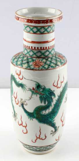 ANTIQUE KANGXI FAMILLE VERDE BALUSTER DRAGON VASE