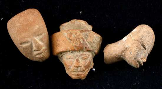 LOT OF 3 PRECOLUMBIAN CLAY HEAD FIGURE PIECES