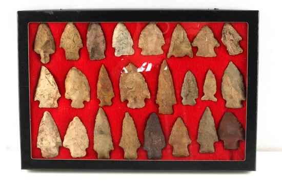 LOT OF 24 FIELD FOUND MISSOURI ARCHAIC ARROWHEADS