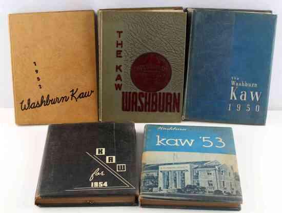 VINTAGE WASHBURN UNIVERSITY 5 YEARBOOK LOT 1950S