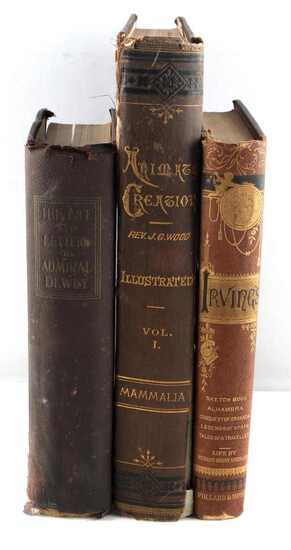 3 VINTAGE 1800S SCIENCE & IRVING ILLUSTRATED BOOKS