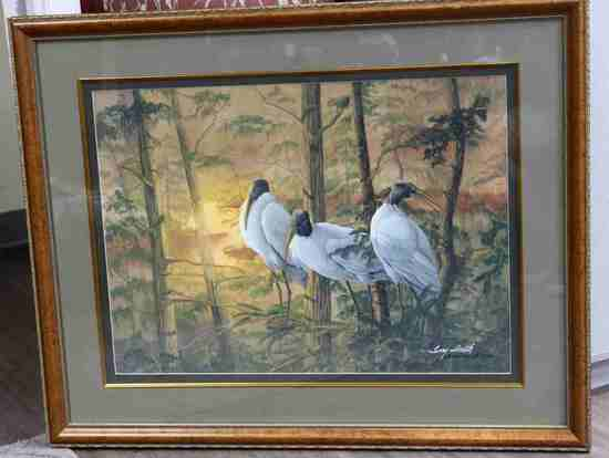 JERRY SMITH WATERCOLOR  PAINTING WOOD IBIS STORK