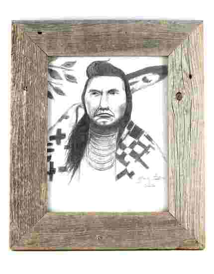 NATIVE AMERICAN SKETCH SIGNED AND DATED FRAMED