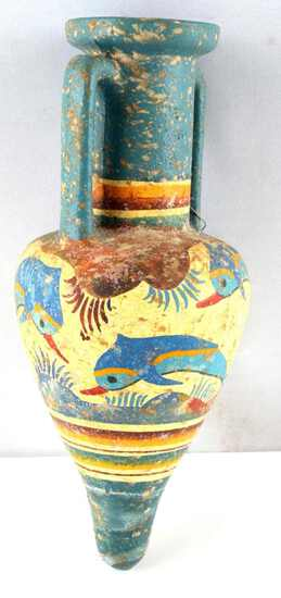 MUSEUM COPY GREEK AMPHORA MINOAN DOLPHIN PAINTING