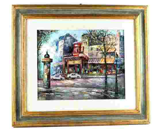 VINTAGE MOULIN ROUGE PARIS STREET SCENE PAINTING