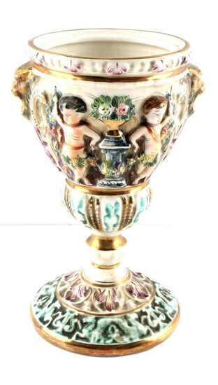 ITALIAN CAPODIMONTE PORCELAIN CHERUB GOBLET