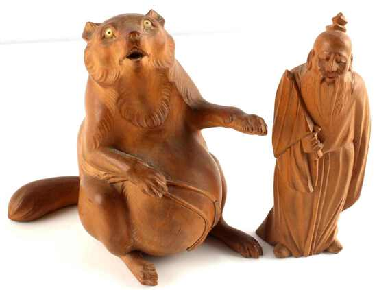 CHINESE CARVED WOOD MAN & YEAR OF THE RAT FIGURALS