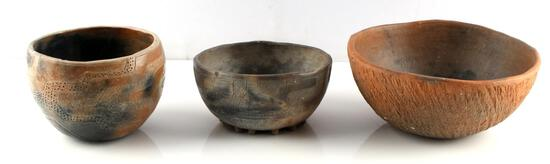 LOT OF 3 NATIVE AMERICAN CLAY POTTERY BOWLS