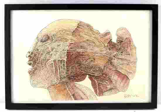 BEKSINSKI ORIGINAL SIGNED INK SURREALIST DRAWING
