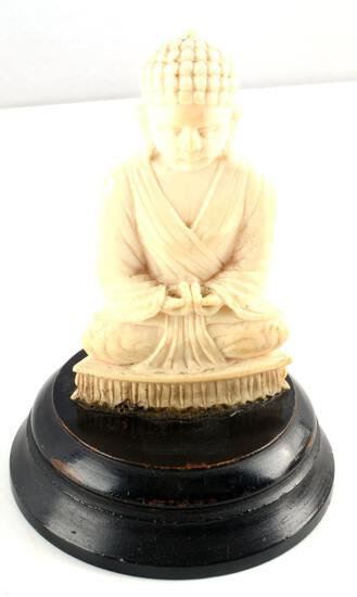 ANTIQUE IVORY BUDDHA LOTUS POSITION FIGURE