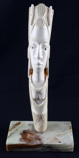 ANTIQUE IVORY FEMALE FIGURE STANDING 11 INCHES