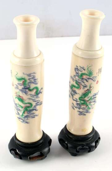PAIR OF ANTIQUE IVORY DRAGON SCRIMSHAW BUD VASE