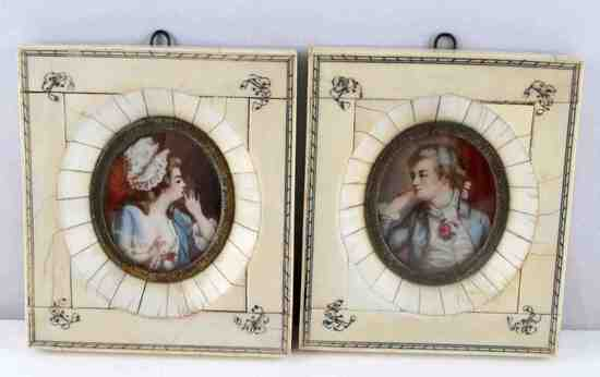 PAIR OF 19TH CENTURY HANDPAINTED IVORY PORTRAITS