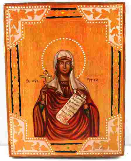 RUSSIAN ICON HANDPAINTED ON WOOD SAINT GALINA