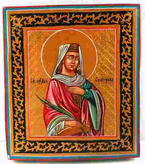 RUSSIAN ICON OF EKATERINA HAND PAINTED WOOD
