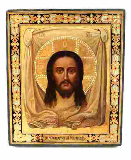 19C. RUSSIAN ICON OF CHRIST NOT MADE BY HANDS