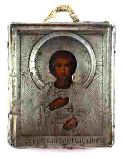 19C RUSSIAN 84 SILVER ICON OF ST. PANTALEON