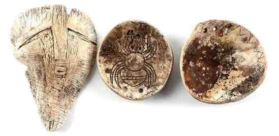 LOT OF 3 SOUTHEASTERN NATIVE AMERICAN SHELL GORGET