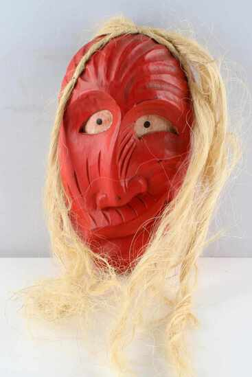 IROQUOIS HAND CARVED FALSE FACE SOCIETY MASK