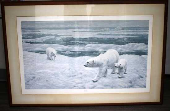 CHARLE FRACE SIGNED POLAR BEAR LITHOGRAPH
