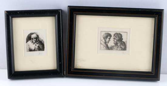 2 FRAMED MINIATURE ETCHINGS OF SERVANTS SIGNED RT