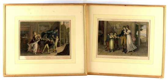 PAIR OF 19TH CENTURY FRENCH COLORED ETCHINGS