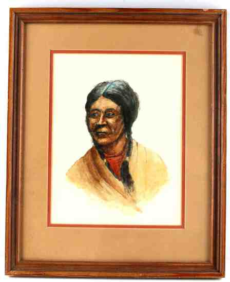SIOUX INDIAN WATERCOLOR PORTRAIT BY SINCLAIR