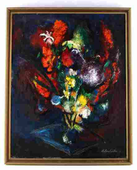 VINTAGE FLORAL STILL LIFE PAINTING BY CARTER