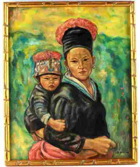ASIAN MOTHER AND CHILD VINTAGE OIL PAINTING